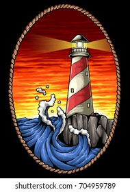 vector illustration of lighthouse in the sunset with wave and rock