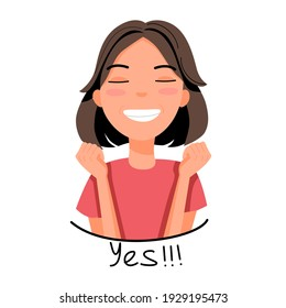 Vector illustration of a light-skinned girl with dark hair who is very happy with a smile on her face and holds her fists. Emotion sticker in cartoon style.