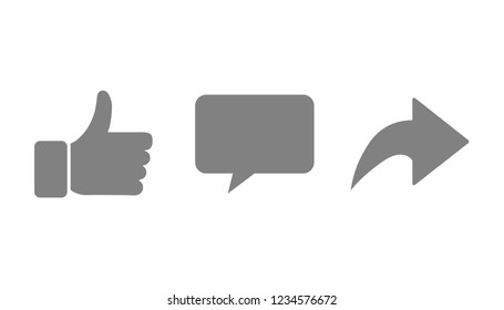 Vector illustration like comment repost icon set. Social network signs.