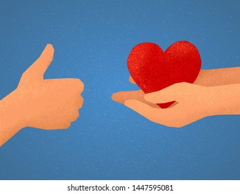 Vector illustration of likes exchange: hand showing thumbs up and arms giving red heart symbol