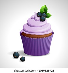 Vector illustration -  lilac cupcake with black currant. eps10.
