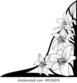 Royalty Free Black White Flower Corner Images Stock Photos