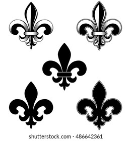 Vector illustration lily flower heraldic emblem. Royal fleur-de-lis (fleur-de-lys) symbol set.