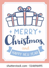 Vector illustration of line art christmas gift boxes with bow, ribbon, handwritten text merry christmas on white background with frame. Flat style design for web, site, banner, poster, greeting card
