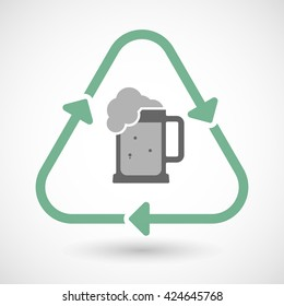 Vector illustration of a line art recycle sign icon with  a beer jar icon