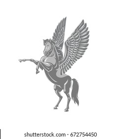 Vector illustration line art style horse with swan wings on white backdrop.