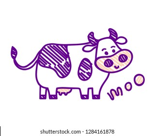 """Vector illustration, line cartoon, sketched, doodled standing spotted cow. Hand drawn, isolated. With """"MOO"""" lettering. Applicable for package, poster, label designs, banners, flyers etc."""