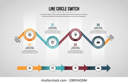 Vector illustration of Line Circle Switch Infographic design element.