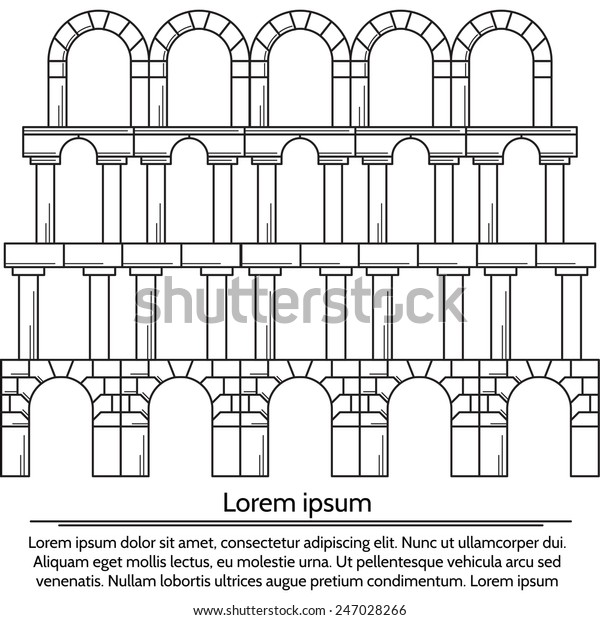 Vector Illustration Line Design Arch Structure Stock Vector