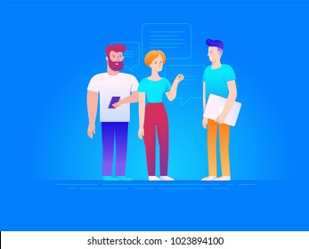 Vector illustration in line flat style and gradient colors - teamwork concept - man and woman with mobile phone and laptop discussing business process