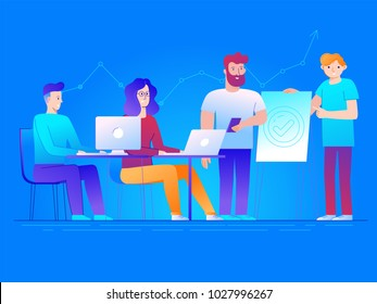 Vector illustration in line flat style and gradient colors - teamwork and business concept - men and women sitting at the desktop in open coworking space