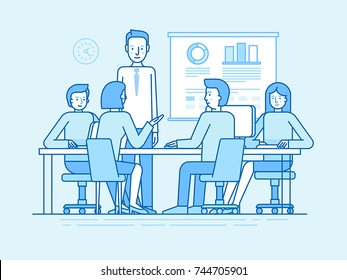 Vector illustration in line flat style and blue colors - team with fiver people working in the office at the computers for online internet business or start up - men and women sitting at the desktop