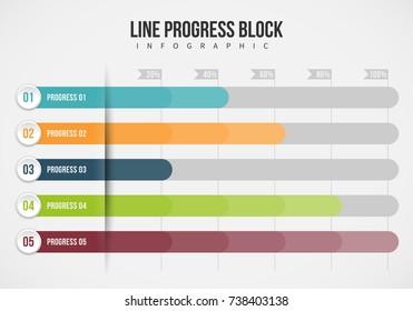 Vector illustration of line progress block infographic design element.