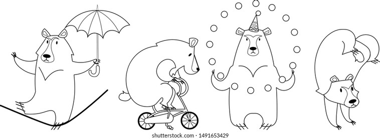 vector illustration line set of funny kawaii cartoon circus bears - riding a bike,juggling and tightrope walking.For children's clothes print, coloring pages and birthday celebration party.Transparent