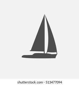 vector illustration line silhouette of sailing yacht isolated
