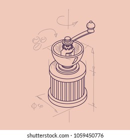 Vector illustration line sketch with 3D coffee grinder. Coffee mill in isometric drawing sketch flat style. Vintage mill