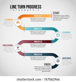 Vector illustration of Line Turn Progress Infographic design element.