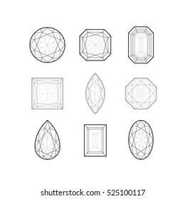 Vector illustration of linear jewels. Black and white set of outline gem stones on white background.
