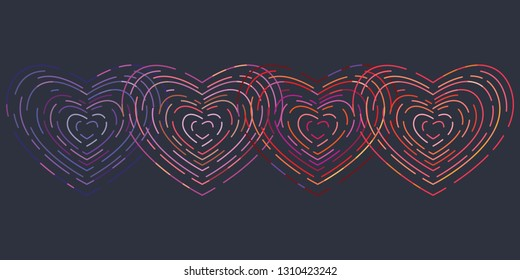 vector illustration of linear outlined intersecting neon hearts on dark background