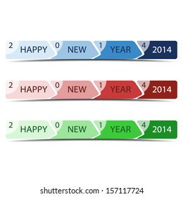 Vector illustration of linear progress bar with greeting Happy New Year 2014.