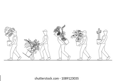 vector illustration of a linear silhouette of a group of workers carrying houseplants in pots, moving to a new house, moving office, courier delivery