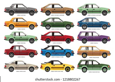Vector illustration of a line-up of retro compact cars.