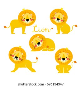 Vector illustration of Lion cartoon set collection.