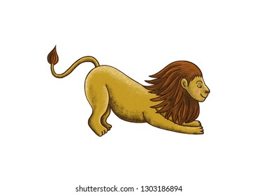 Vector illustration of a lion drawn in a cute cartoonish manner bending forward.