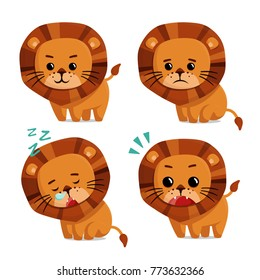 Vector Illustration of Lion with happy, sad, sleepy, and surprised expressions