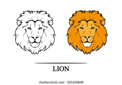 Vector illustration of lion head in black and color version.Tattoo style.