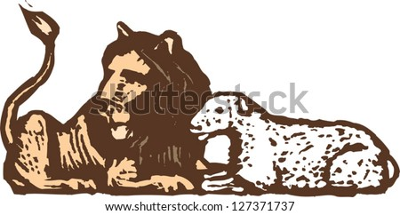 Vector Illustration Of Lion And Lamb