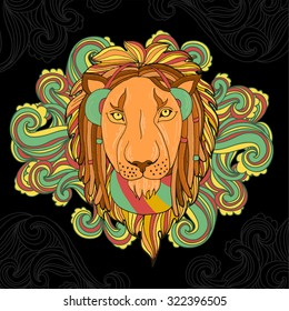 Vector illustration with lion in reggae style listening music in headphones. Rastafarian lion with dreadlocks.