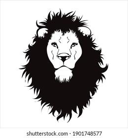 Vector illustration of lion. Symbol of wild animal and safari.