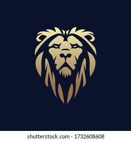 Vector illustration of a lion's head in a luxurious and classic style