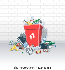 Vector illustration of littering garbage disposed improperly around the red plastic trash dust bin on the street in front of a wall. Messy waste is on the ground because the garbage can is full.