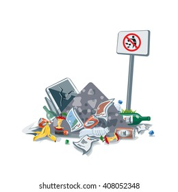 Vector illustration of littering garbage waste pile disposed improperly at an inappropriate location with No littering sign board. Trash is fallen on the ground creating big messy stack.