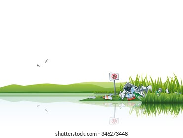 Vector illustration of littering in the green nature near the water source lake or river. Trash is thrown away in the grass even there is no littering sign. Place your text above.