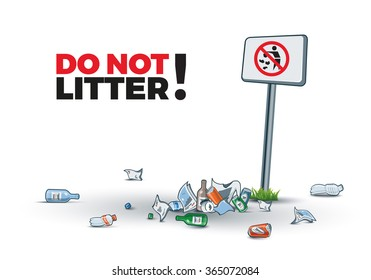 Vector illustration of littering near the No littering sign creating trash island. Place your text.