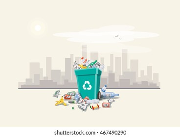 Vector illustration of littering waste disposed around the dust bin on street with city skyline in the background. Garbage can full of overflowing trash. Trash is fallen on the ground, cartoon style.