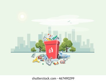 Vector illustration of littering waste disposed improperly around the red dust bin on street with city skyline. Garbage can full of overflowing trash. Trash is fallen on the ground, cartoon style.