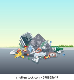 Vector illustration of littering waste pile that have been disposed improperly at an inappropriate location around on the street exterior. Trash is fallen on the ground and creates a big stack.