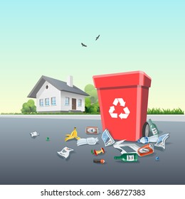 Vector illustration of littering waste that have been disposed improperly around the dust bin in front of the residential house. Trash is fallen on the ground.
