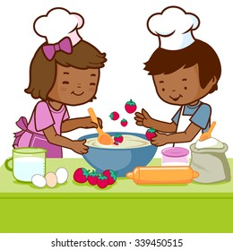 Vector Illustration of a little African boy and a girl having fun and cooking together in the kitchen.