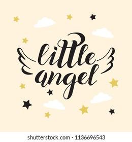 Vector Illustration of little angel text. Little angel badge. Little angel lettering typography poster. Little angel calligraphy background. EPS 10