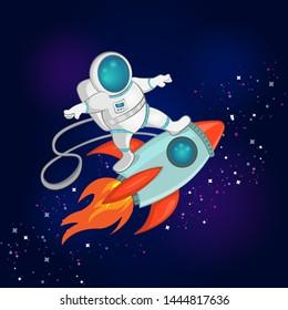 vector illustration little astronaut surfer 260nw 1444817636