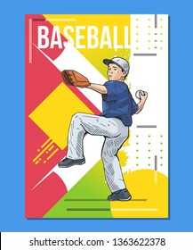 Vector illustration of a little baseball player throwing the ball, youth league, young boy. Beautiful sport themed poster. Abstract background, summer sports, team game, baseball pitcher