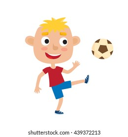 Vector illustration of little blonde boy in shirt and shorts playing football. Cute cartoon kid kicking soccer ball isolated on white background. Pretty football player. Happy child.
