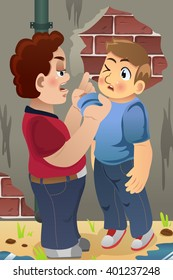 A vector illustration of little boy bullying his friend for bullying concept