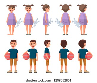 Vector illustration of little boy in casual clothe with ball and girl with toy in purple dress . Cartoon realistic people set. Flat children. Front view , Side view , Back side view , Isometric view
