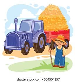 Vector illustration of a little boy farmer